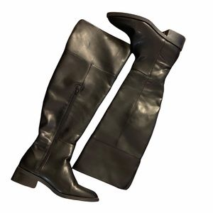 Zara Over Knee Tall Black Faux Leather Flat Boot